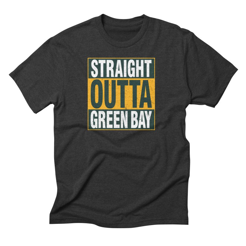 Straight Outta Green Bay in Men's Triblend T-Shirt Heather Onyx by Curly & Co.