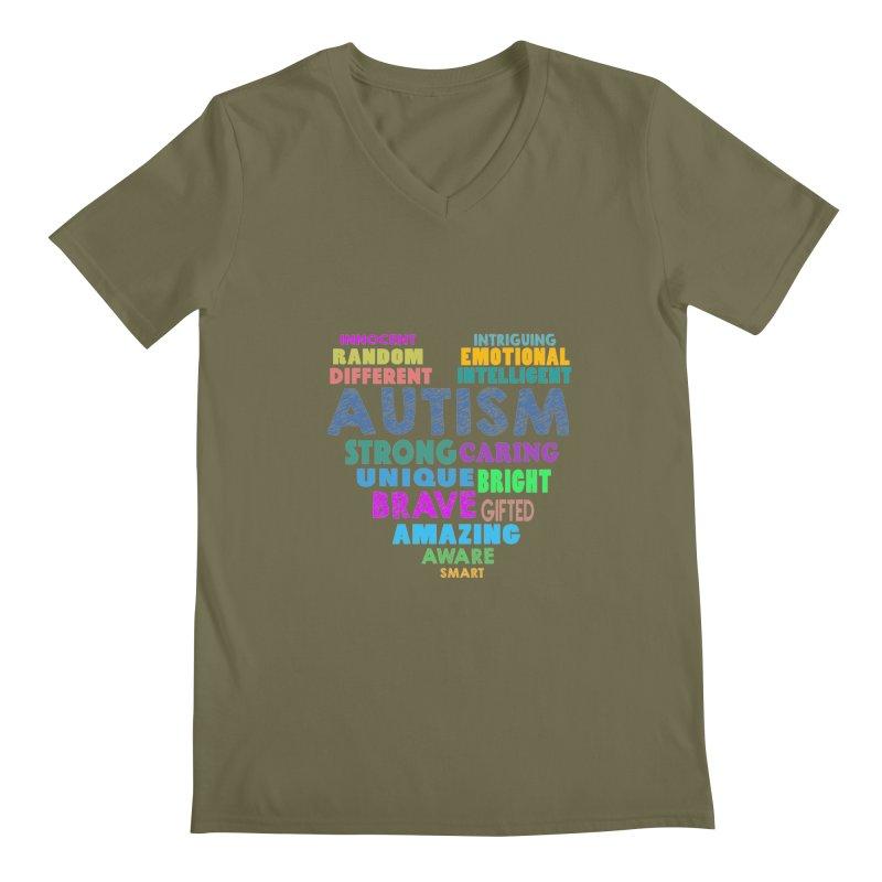 Hearty Words Men's Regular V-Neck by Coachella Valley Autism Society of America