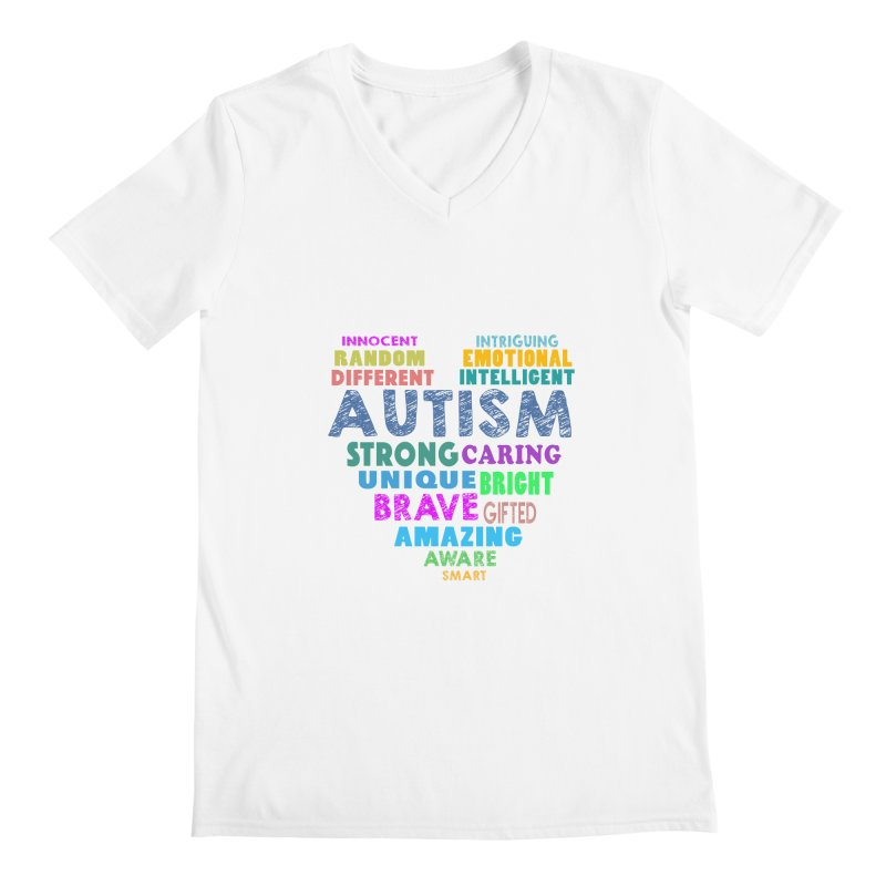 Hearty Words Men's V-Neck by Coachella Valley Autism Society of America