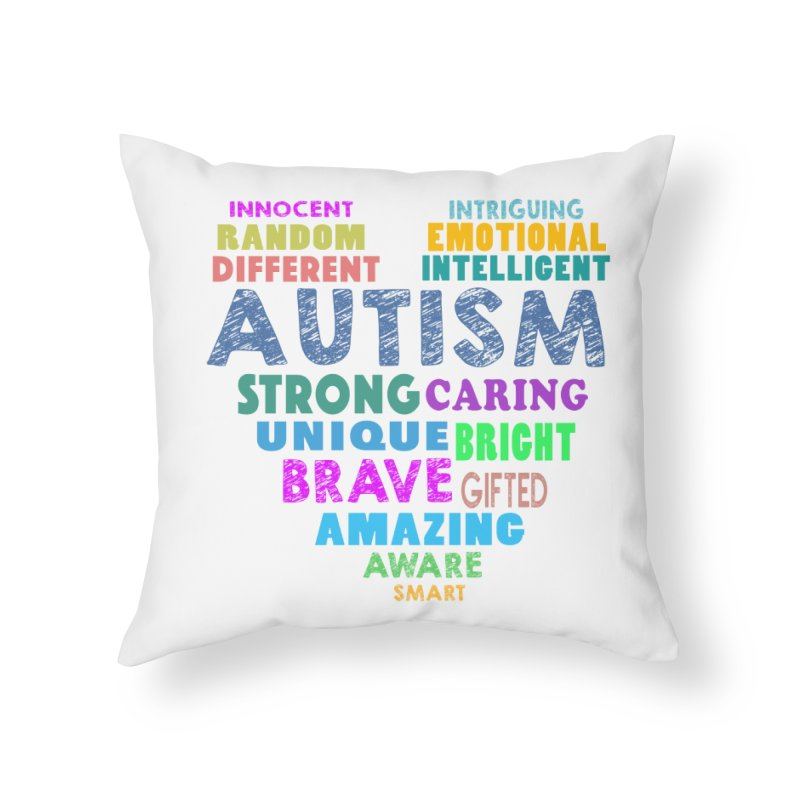 Hearty Words Home Throw Pillow by Coachella Valley Autism Society of America