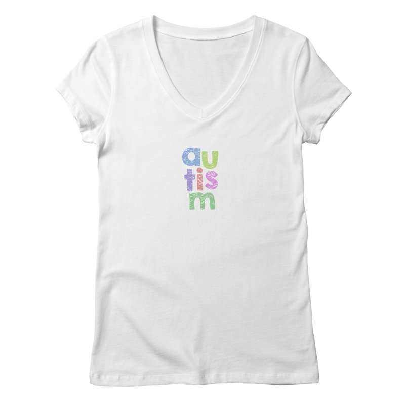 Letters Stacked Women's Regular V-Neck by Coachella Valley Autism Society of America