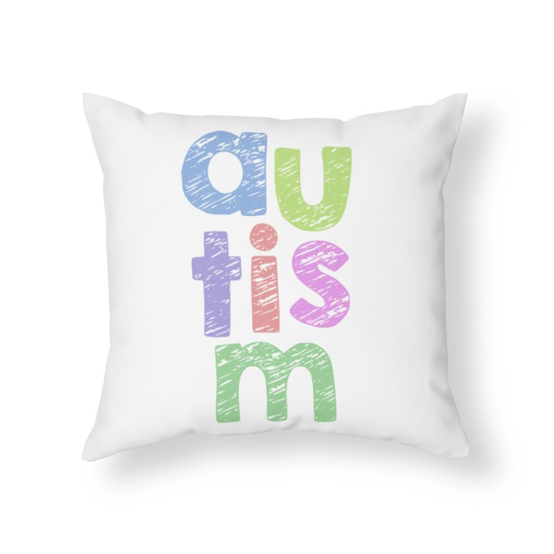 Letters Stacked Home Throw Pillow by Coachella Valley Autism Society of America