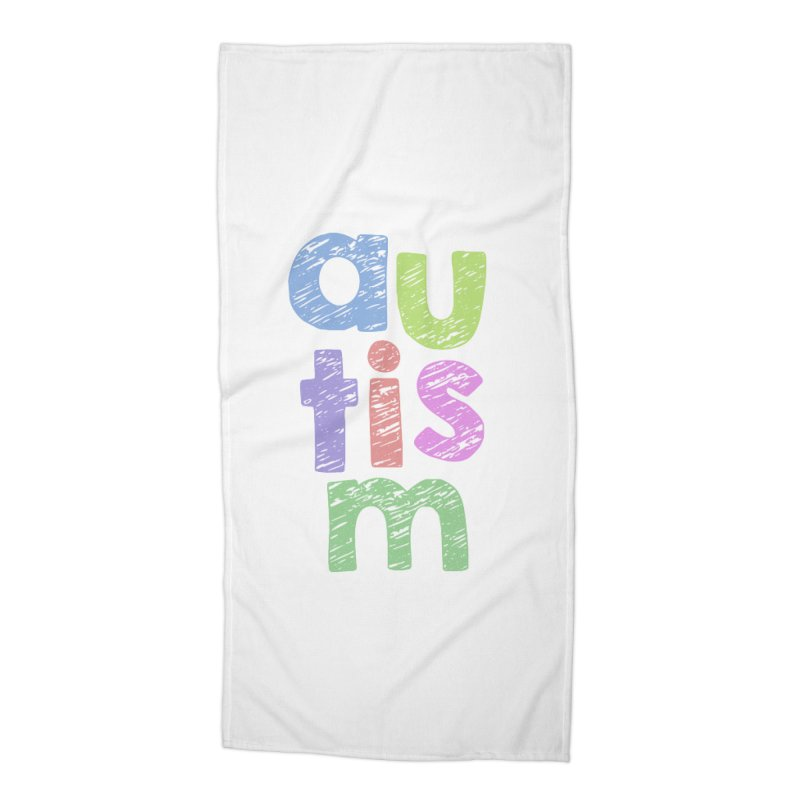 Letters Stacked Accessories Beach Towel by Coachella Valley Autism Society of America