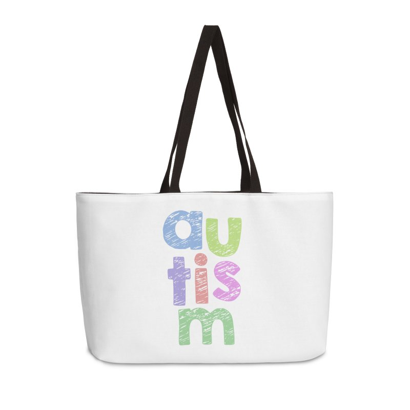 Letters Stacked Accessories Weekender Bag Bag by Coachella Valley Autism Society of America