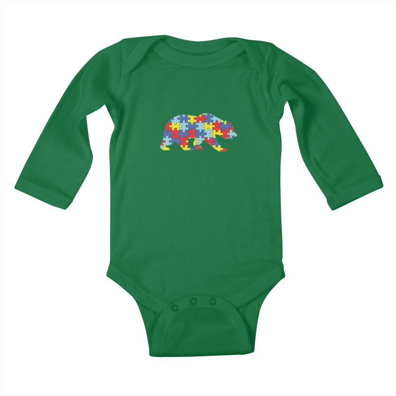 California Bear Kids Baby Longsleeve Bodysuit by Coachella Valley Autism Society of America