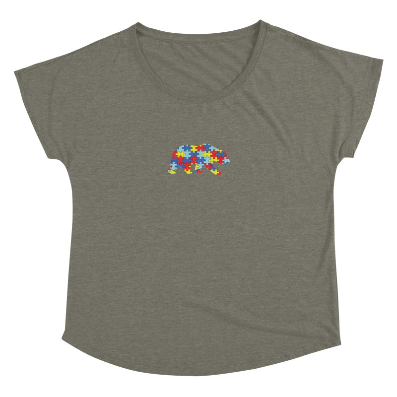 California Bear Women's Dolman Scoop Neck by Coachella Valley Autism Society of America