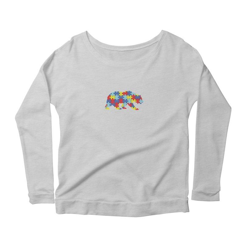 California Bear Women's Scoop Neck Longsleeve T-Shirt by Coachella Valley Autism Society of America
