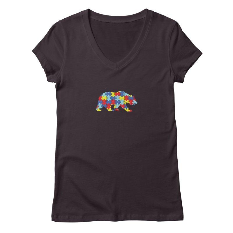 California Bear Women's Regular V-Neck by Coachella Valley Autism Society of America