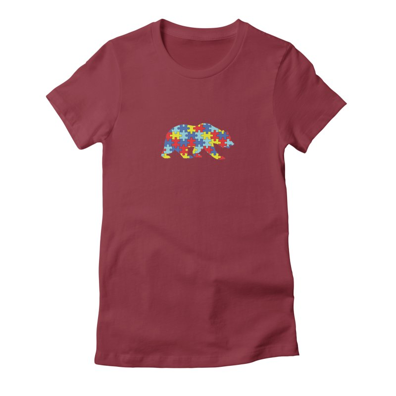 California Bear Women's Fitted T-Shirt by Coachella Valley Autism Society of America