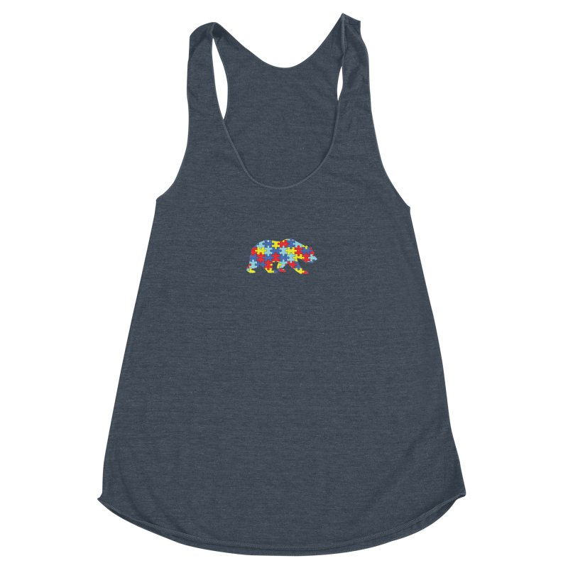 California Bear Women's Racerback Triblend Tank by Coachella Valley Autism Society of America