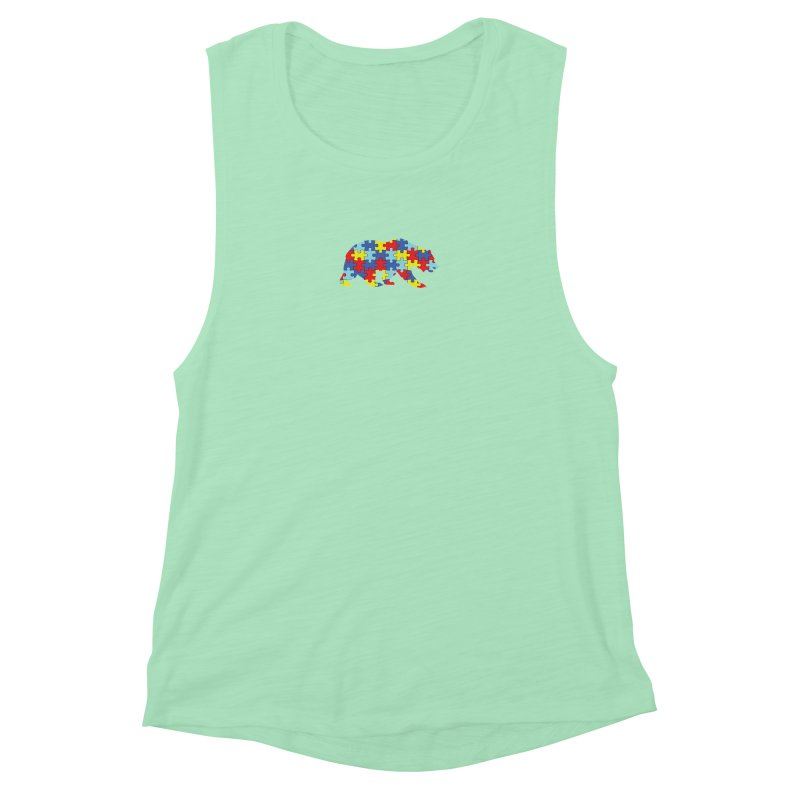 California Bear Women's Muscle Tank by Coachella Valley Autism Society of America