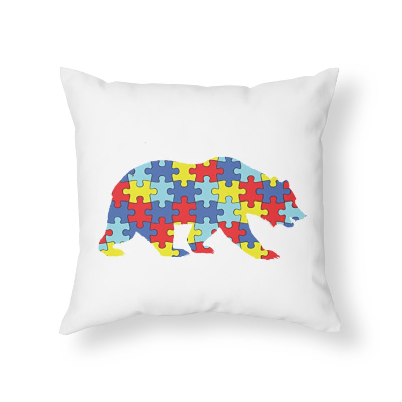 California Bear Home Throw Pillow by Coachella Valley Autism Society of America