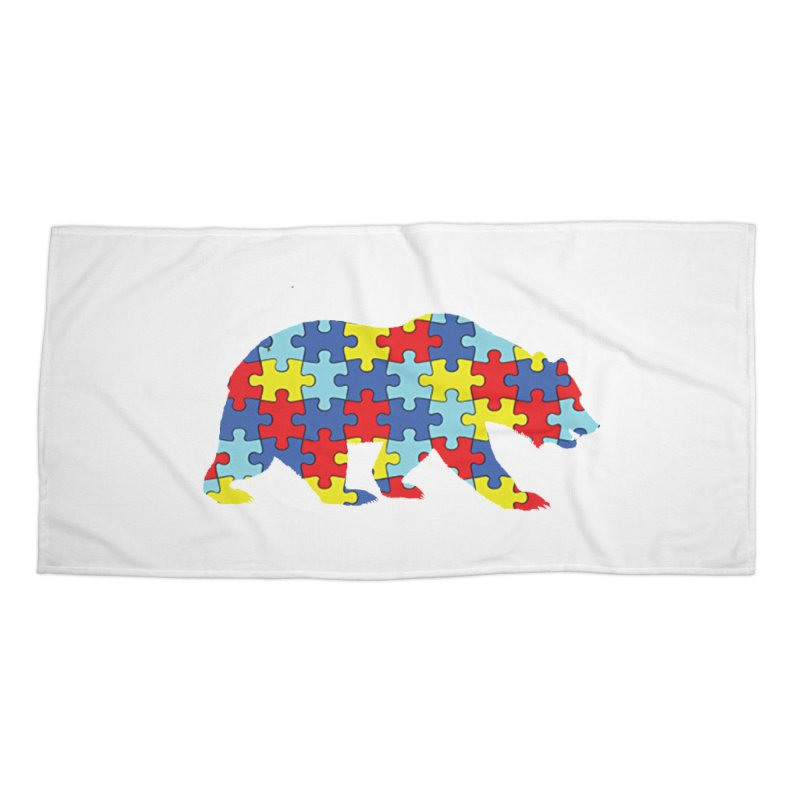 California Bear Accessories Beach Towel by Coachella Valley Autism Society of America
