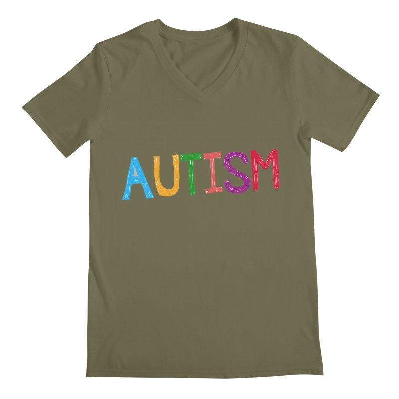 Marker Letters Men's Regular V-Neck by Coachella Valley Autism Society of America