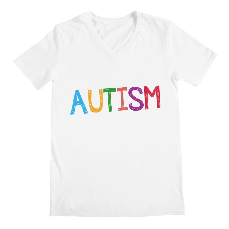 Marker Letters Men's V-Neck by Coachella Valley Autism Society of America