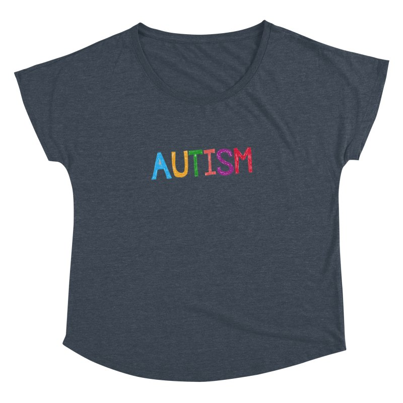 Marker Letters Women's Dolman Scoop Neck by Coachella Valley Autism Society of America