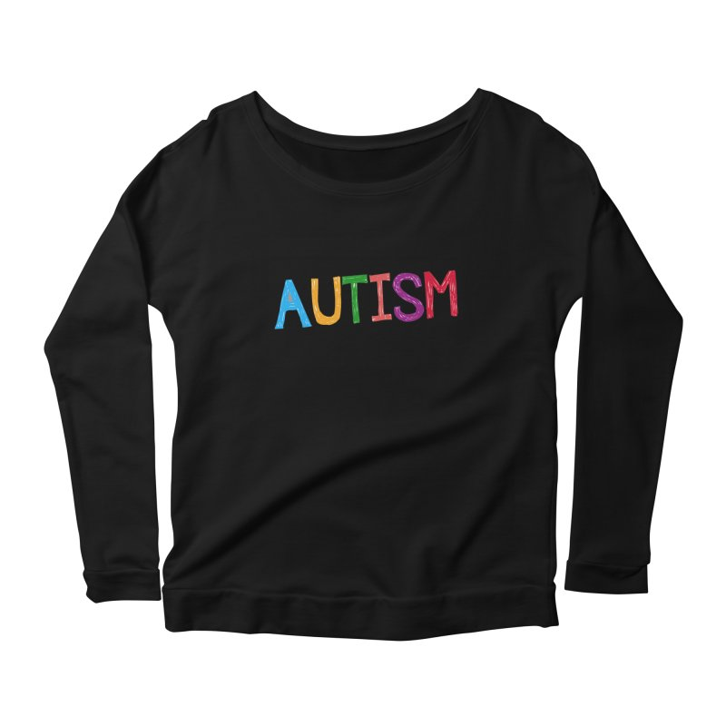 Marker Letters Women's Scoop Neck Longsleeve T-Shirt by Coachella Valley Autism Society of America