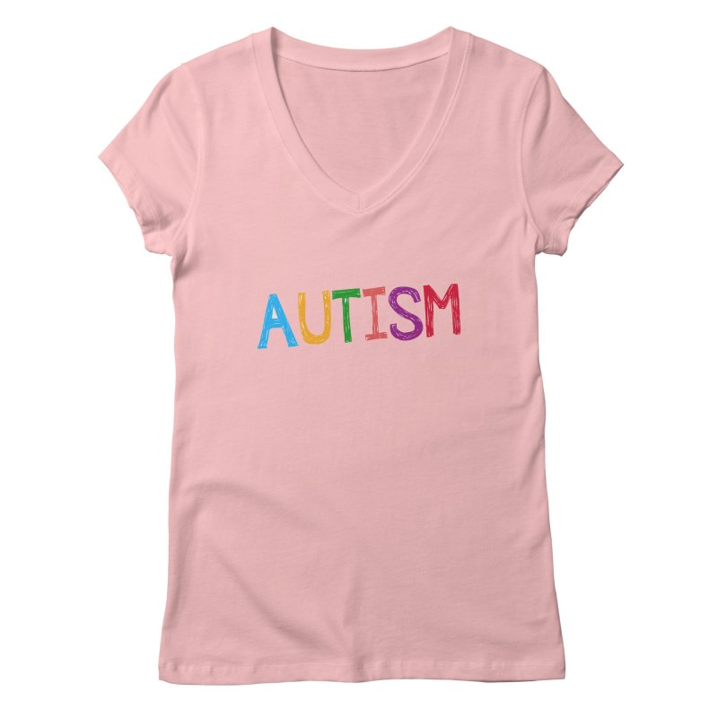 Marker Letters Women's Regular V-Neck by Coachella Valley Autism Society of America