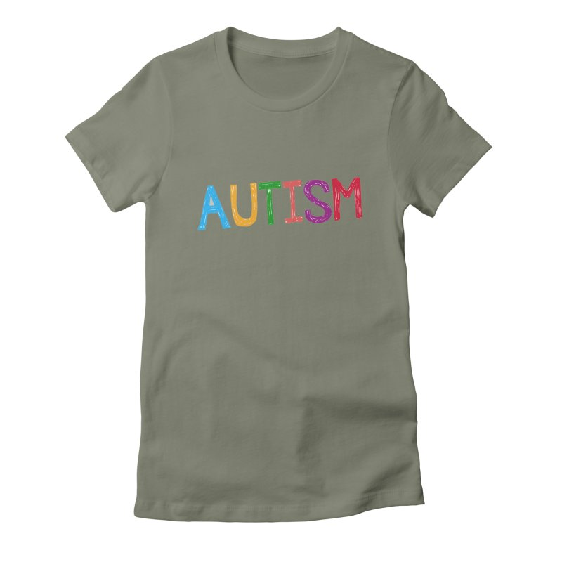 Marker Letters Women's Fitted T-Shirt by Coachella Valley Autism Society of America