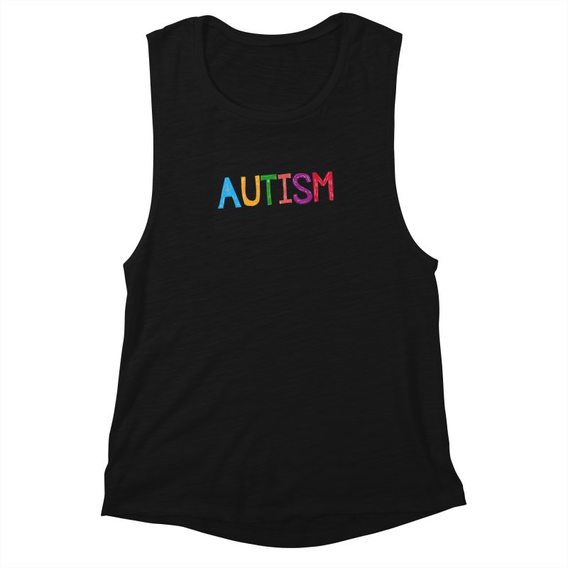 Marker Letters Women's Muscle Tank by Coachella Valley Autism Society of America