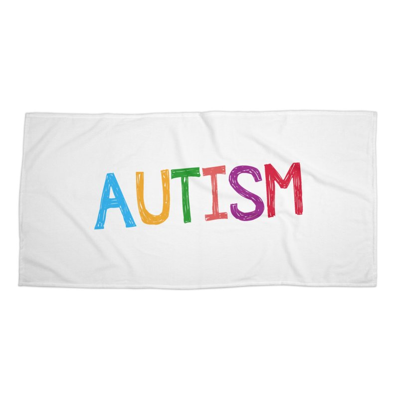Marker Letters Accessories Beach Towel by Coachella Valley Autism Society of America