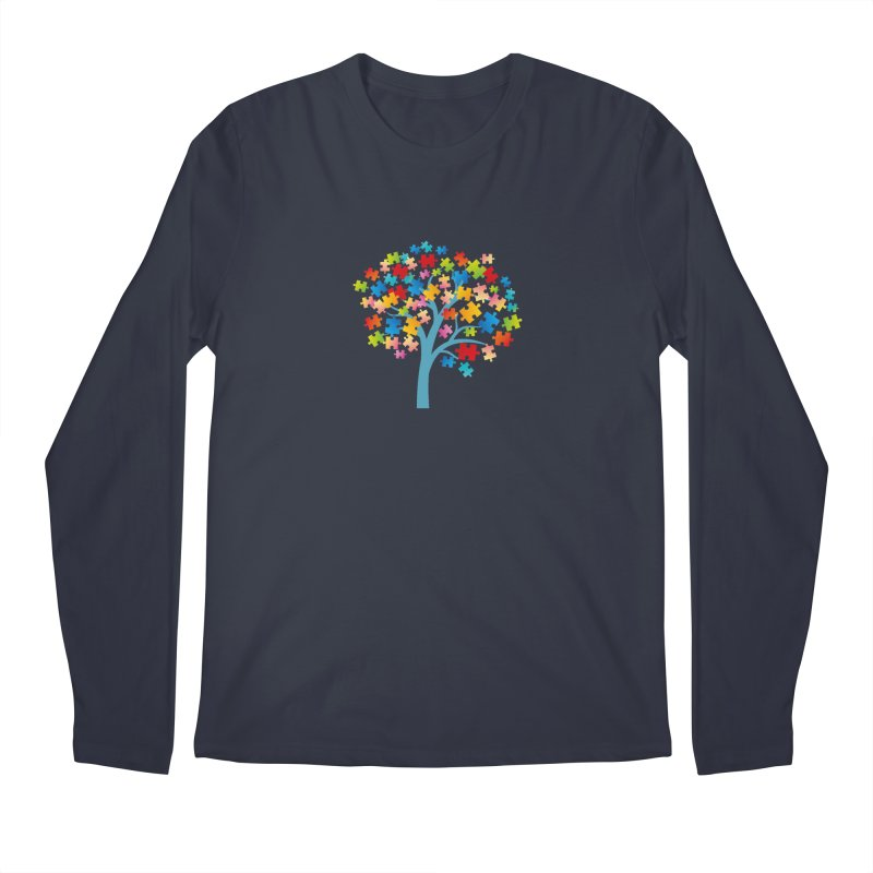 Puzzle Tree Men's Regular Longsleeve T-Shirt by Coachella Valley Autism Society of America