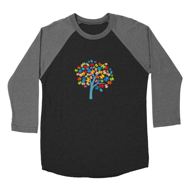 Puzzle Tree Men's Baseball Triblend Longsleeve T-Shirt by Coachella Valley Autism Society of America