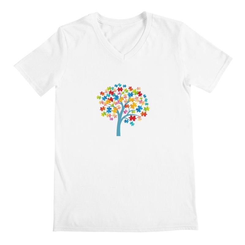Puzzle Tree Men's V-Neck by Coachella Valley Autism Society of America