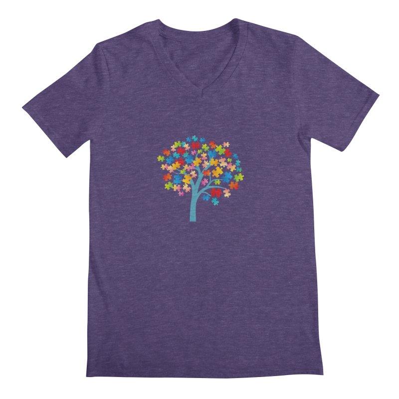 Puzzle Tree Men's Regular V-Neck by Coachella Valley Autism Society of America