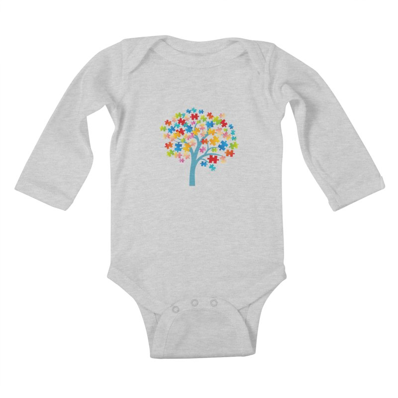 Puzzle Tree Kids Baby Longsleeve Bodysuit by Coachella Valley Autism Society of America