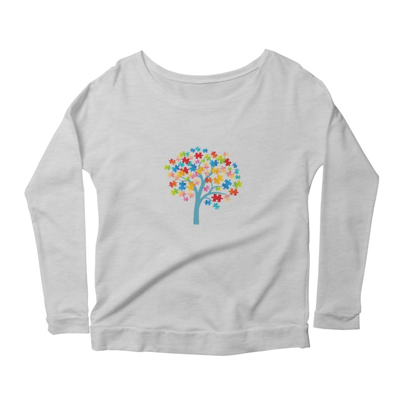 Puzzle Tree Women's Scoop Neck Longsleeve T-Shirt by Coachella Valley Autism Society of America