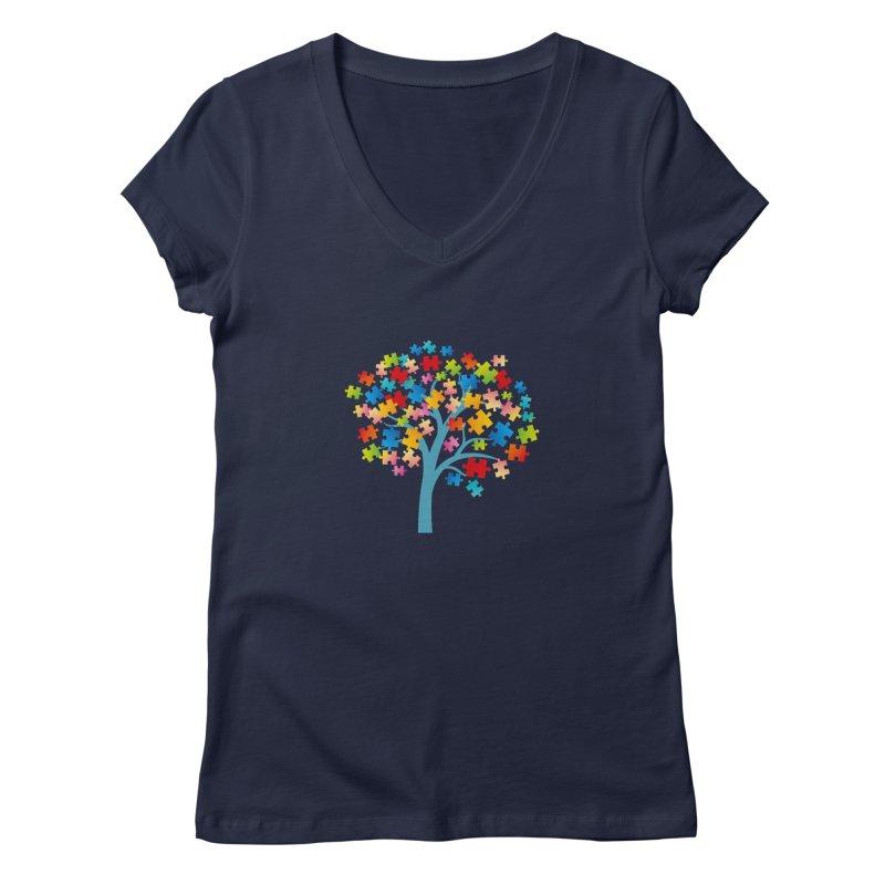 Puzzle Tree Women's Regular V-Neck by Coachella Valley Autism Society of America