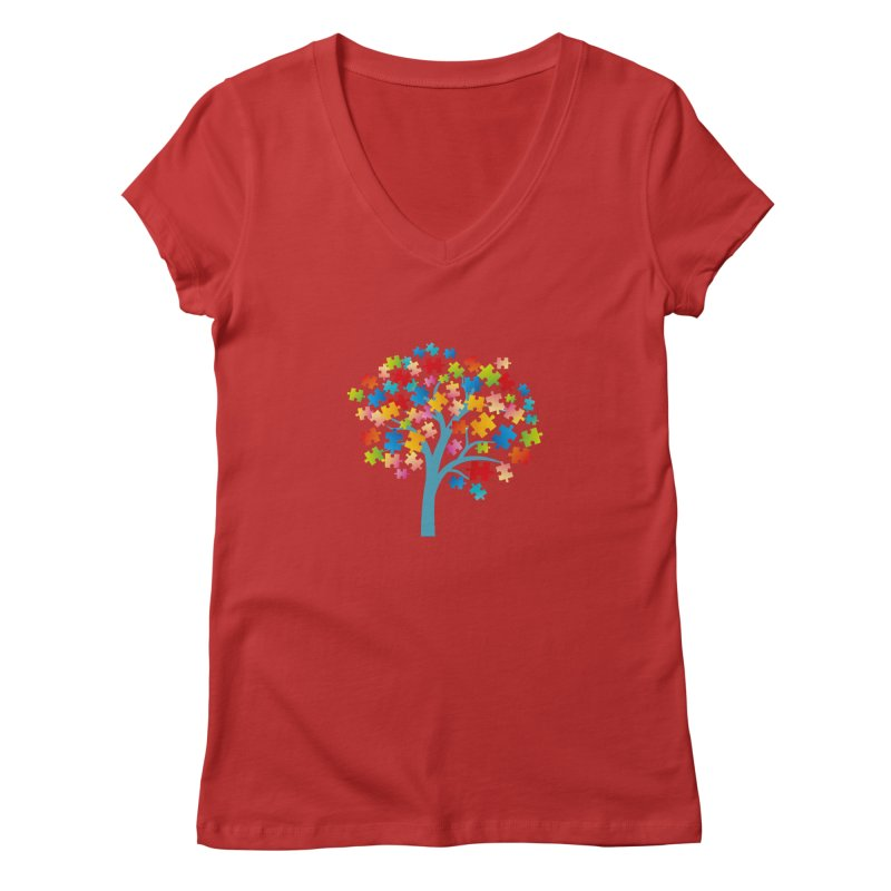 Puzzle Tree Women's Regular V-Neck by Coachella Valley Autism Society of America
