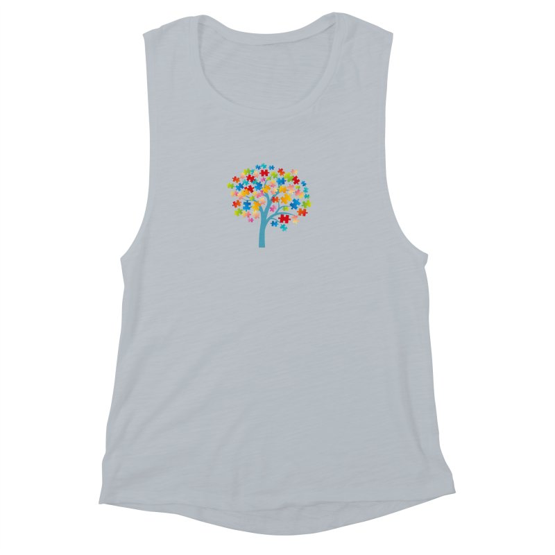 Puzzle Tree Women's Muscle Tank by Coachella Valley Autism Society of America