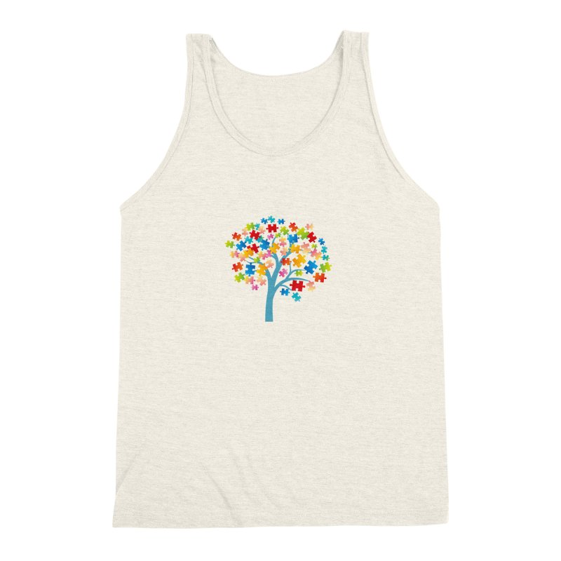 Puzzle Tree Men's Triblend Tank by Coachella Valley Autism Society of America