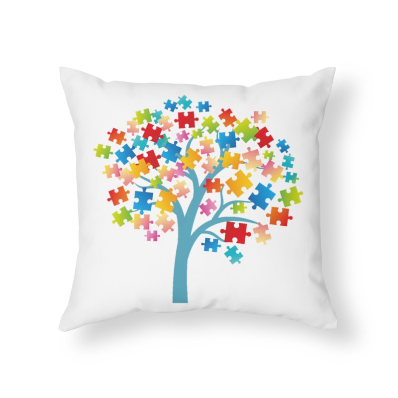 Puzzle Tree Home Throw Pillow by Coachella Valley Autism Society of America