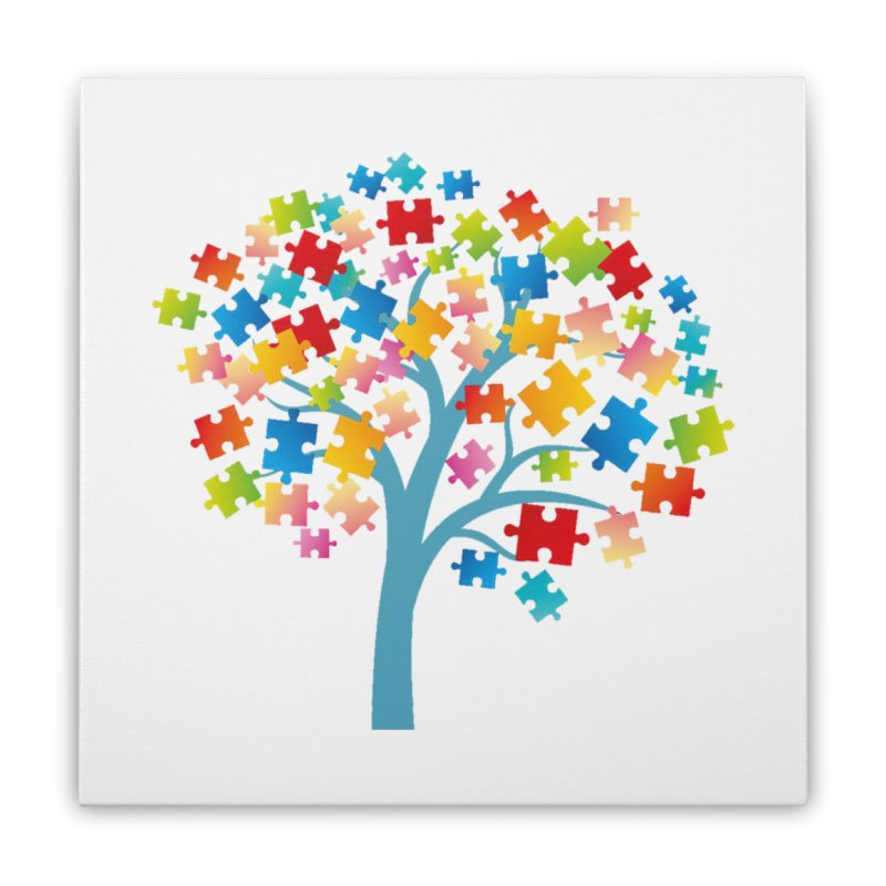 Puzzle Tree Home Stretched Canvas by Coachella Valley Autism Society of America