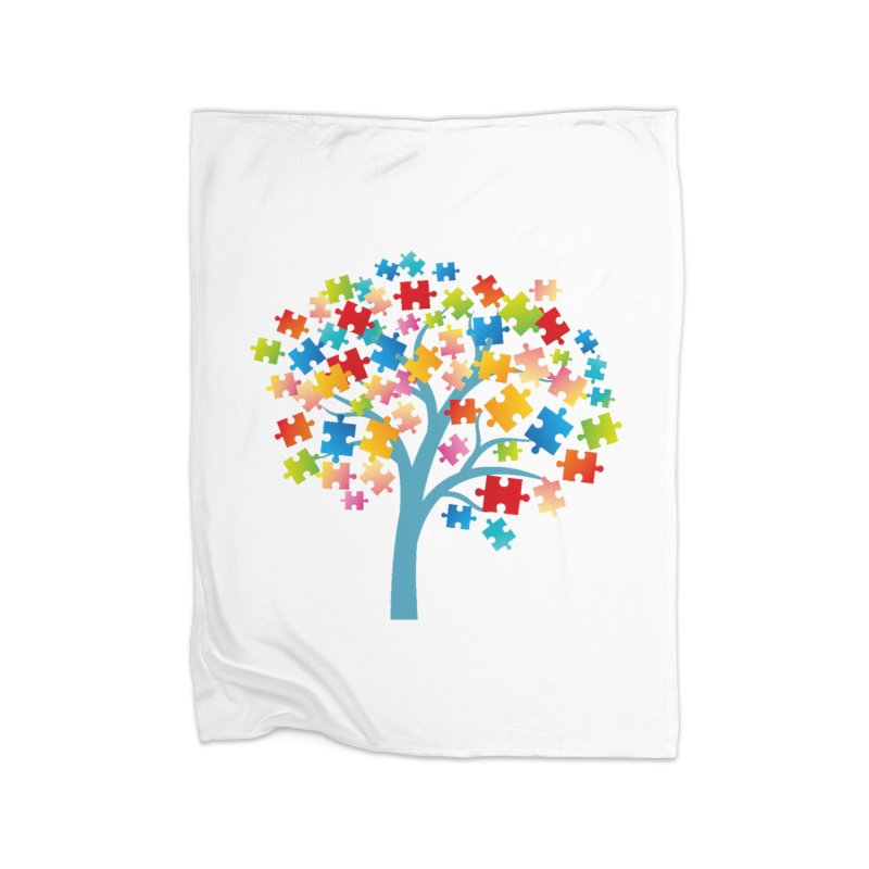 Puzzle Tree Home Blanket by Coachella Valley Autism Society of America