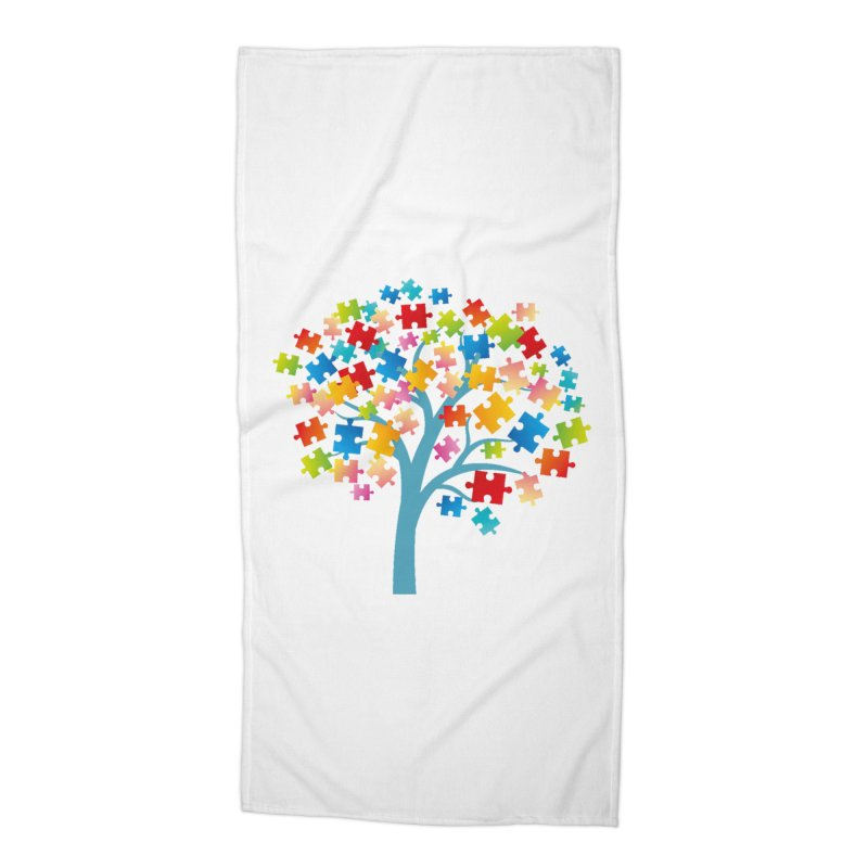 Puzzle Tree Accessories Beach Towel by Coachella Valley Autism Society of America