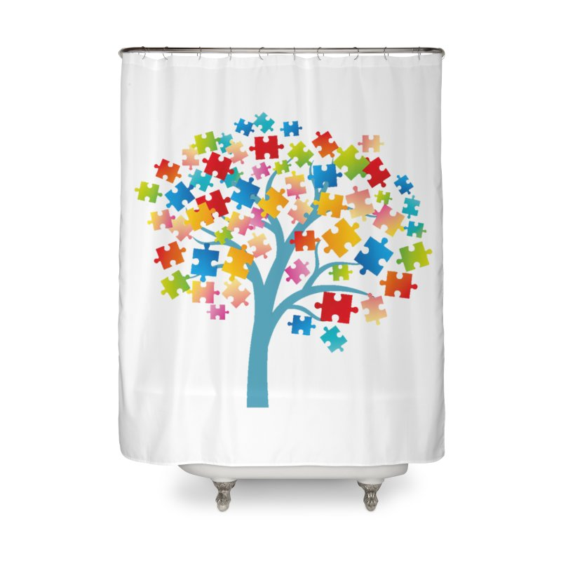 Puzzle Tree Home Shower Curtain by Coachella Valley Autism Society of America