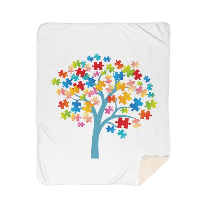 Puzzle Tree Home Sherpa Blanket Blanket by Coachella Valley Autism Society of America