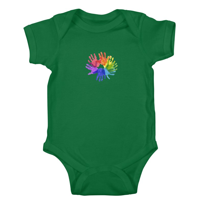Paint Hands Kids Baby Bodysuit by Coachella Valley Autism Society of America