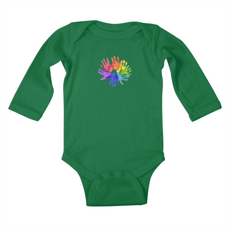 Paint Hands Kids Baby Longsleeve Bodysuit by Coachella Valley Autism Society of America