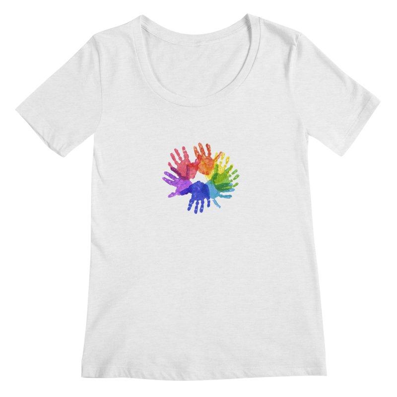 Paint Hands Women's Regular Scoop Neck by Coachella Valley Autism Society of America