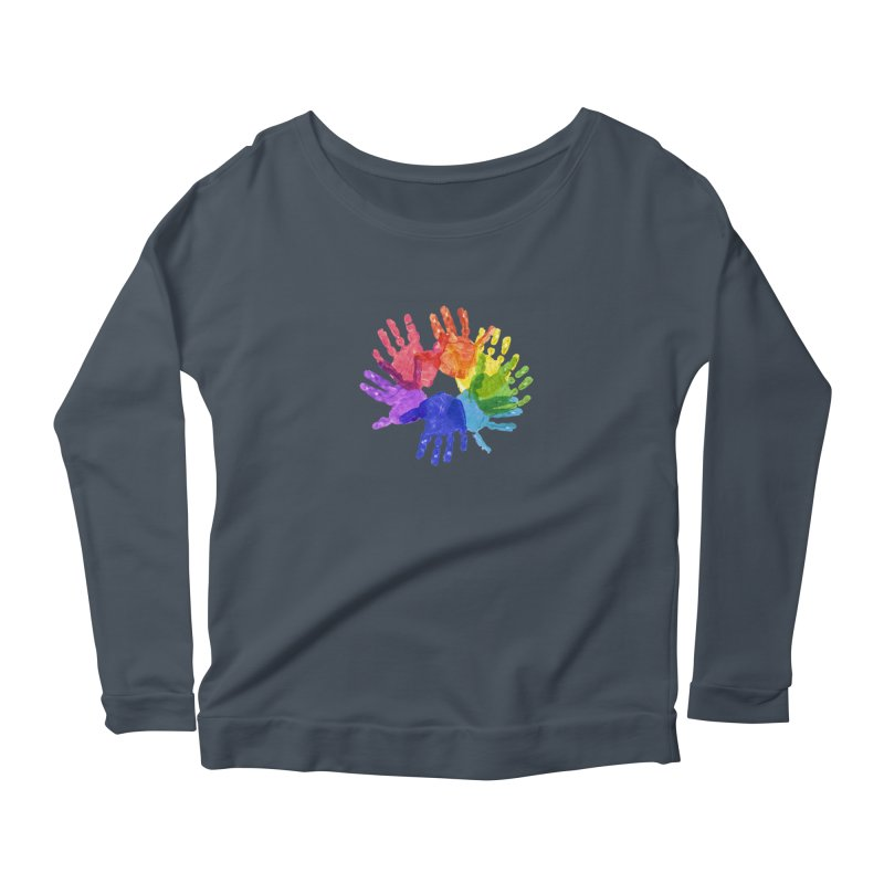 Paint Hands Women's Scoop Neck Longsleeve T-Shirt by Coachella Valley Autism Society of America