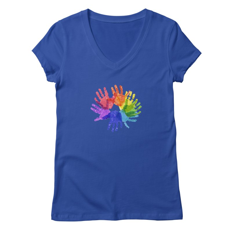Paint Hands Women's Regular V-Neck by Coachella Valley Autism Society of America