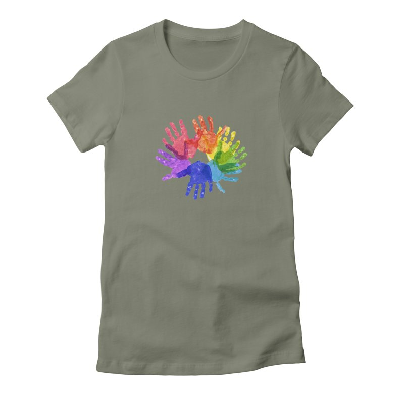 Paint Hands Women's Fitted T-Shirt by Coachella Valley Autism Society of America