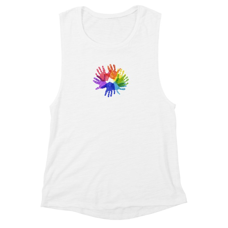 Paint Hands Women's Muscle Tank by Coachella Valley Autism Society of America