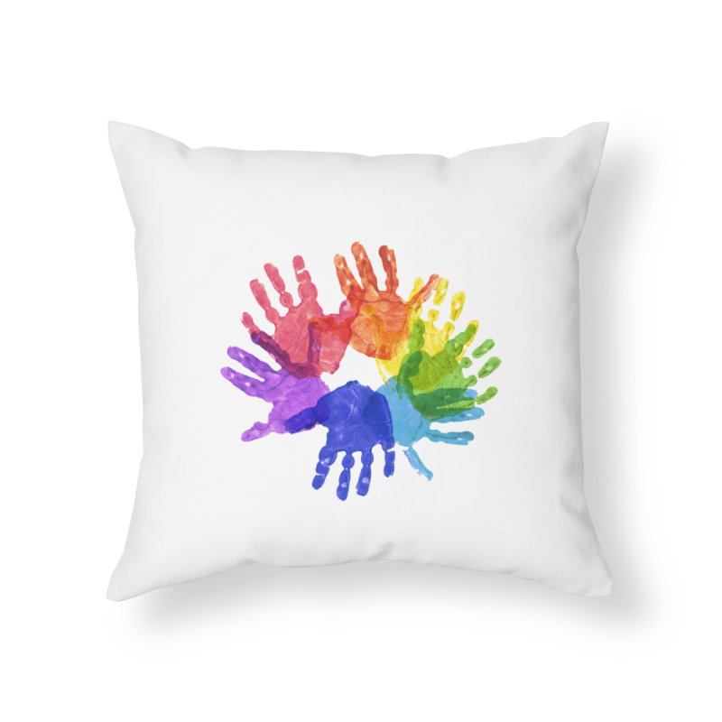 Paint Hands Home Throw Pillow by Coachella Valley Autism Society of America