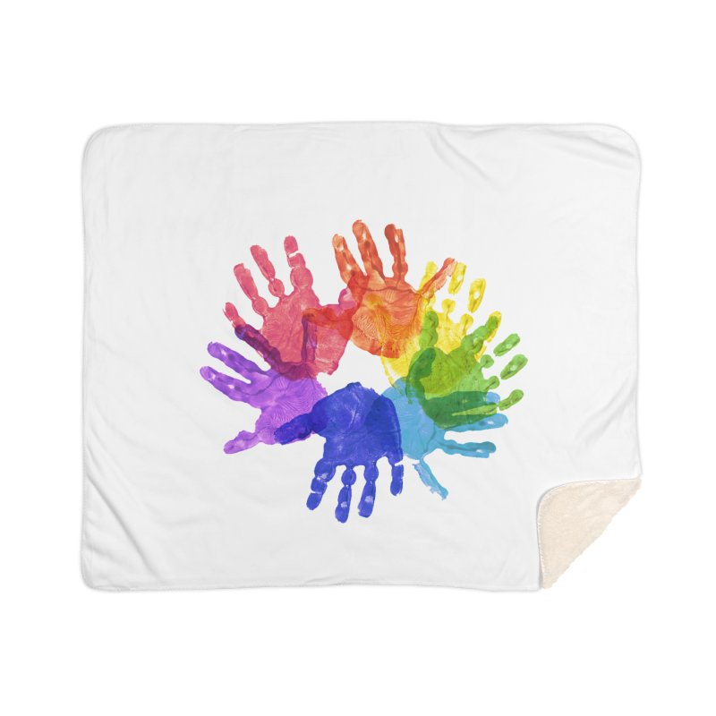 Paint Hands Home Sherpa Blanket Blanket by Coachella Valley Autism Society of America